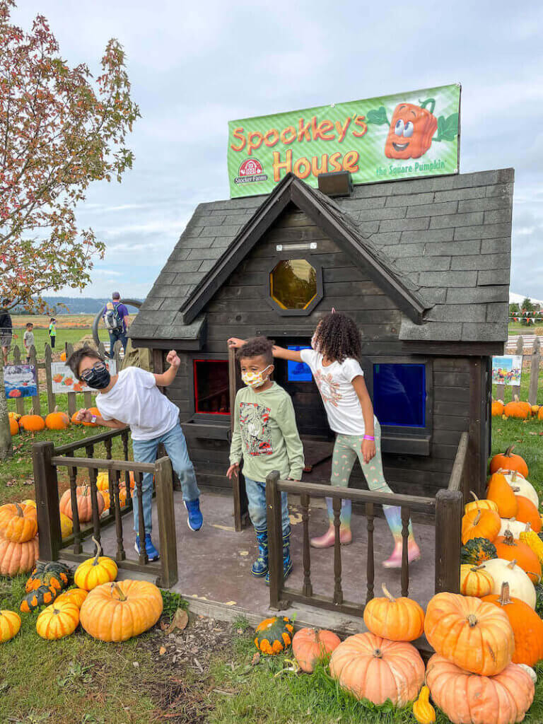 Image of 3 kids standing outside a little playhouse with the sign Spookley's House on top.