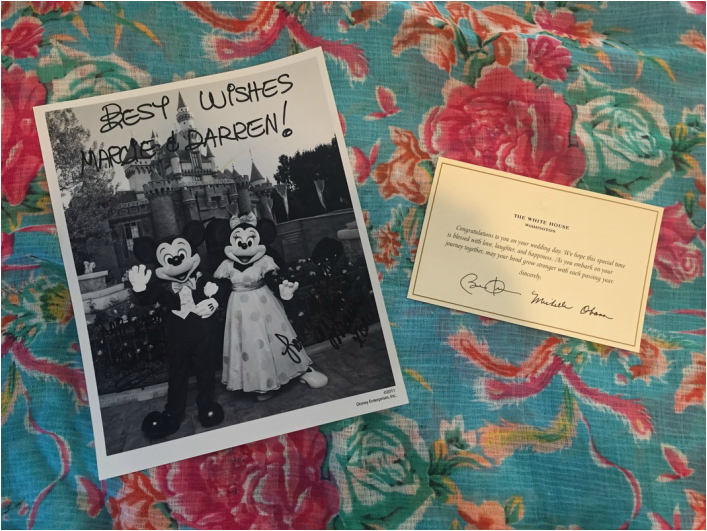Photo of Disney wedding announcement and announcement from the White House. #weddinginsp #weddingidea