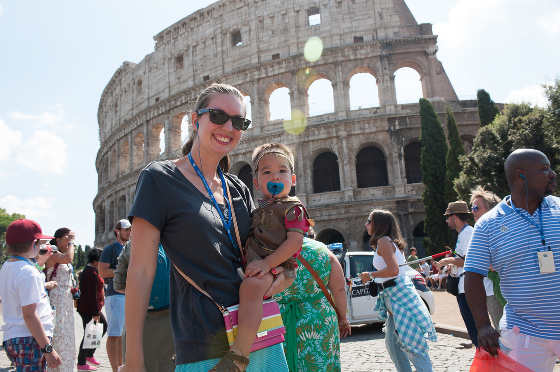 Colosseum in Rome, Italy with a toddler on a cruise excursion
