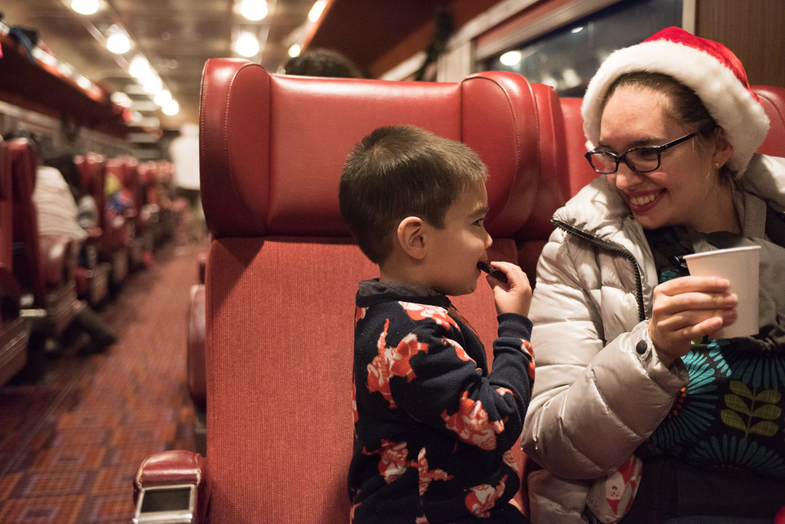 Cookies and cocoa on the Polar Express train