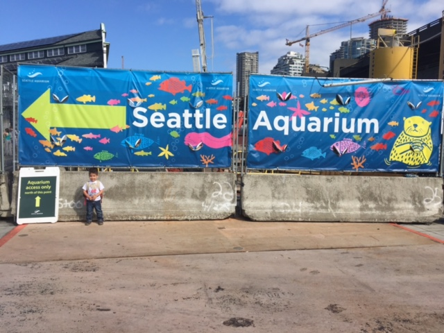 Temporary sign at Seattle Aquarium