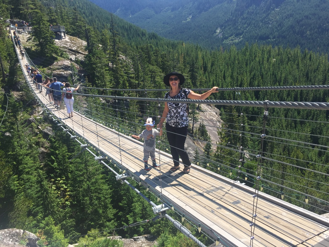 Photo of a suspension bridge at the Sea to Sky gondola in Squamish, BC is a thing to do in Vancouver BC with kids #vancouver #squamish #bc #britishcolumbia #explorebc #seatosky #seatoskygondola #canada