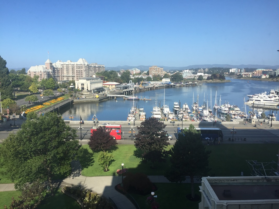Photo of the view from our newly renovated room at the Fairmont Empress in Victoria, BC