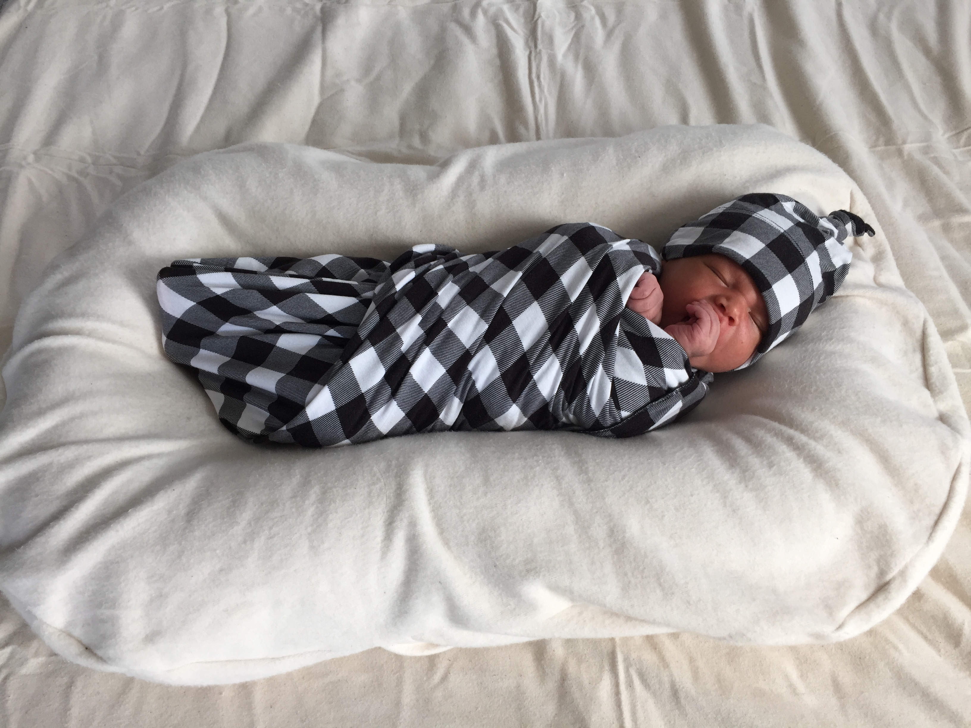 Milkmaid Goods Buffalo Plaid Swaddle Blanket and Hat