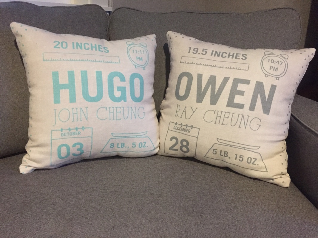 Birth Announcement pillows from Tiny Prints