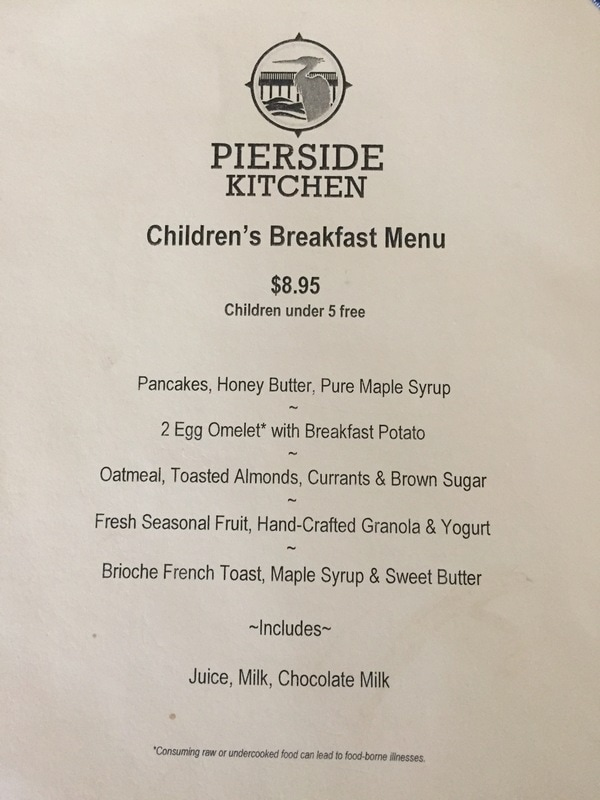 Children's menu at Pierside Kitchen at Semiahmoo Resort.