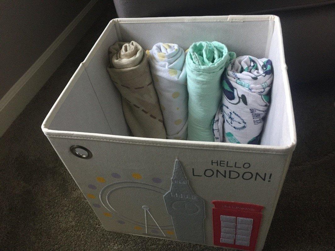 Kaikai & Ash toy storage cubes with Tula blankets